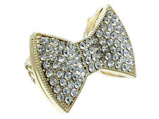 Bold Bow Ring in Gold Tone Stretch Adjustable Sizing Crystals Bling