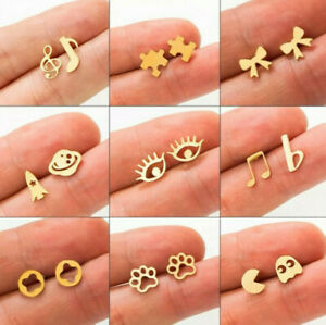 Small Vintage packman jigsaw lucky eye puzzle stud funny earrings gold