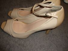 """Ladies MOSSINO Peep Toe Shoes Tan High Heels 4"""" Size 11 Ankle Strap     135"""