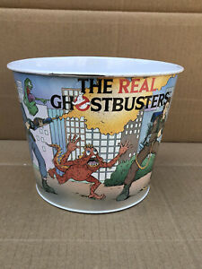 The Real Ghostbusters Metal Artwork Bin Trash Can by Icarus 1988 RARE