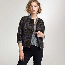 $598 J.CREW COLLECTION Size 12 Italian Wool Sequin Tweed Morceau Coat