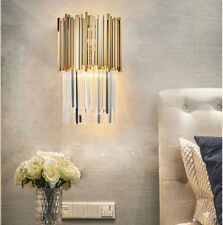 Postmodern Luxury Crystal Wall Lamp Golden Bar Wall Sconces For Bedroom Halls