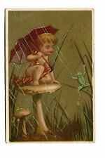 Victorian Trade Card BRETTS MENS CLOTHES boy on Mushroom in rain frog Middleboro