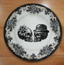 "NEW Royal Stafford Halloween Floral Skeleton Skull Set of 4 Dinner Plates 11"""