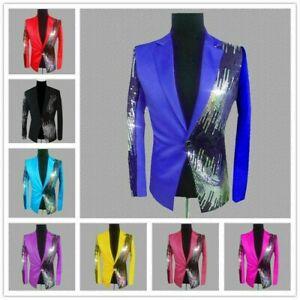 Hommes Blazers Costume Veste Brillant Sequin Paillette Club Désherbage de Fête