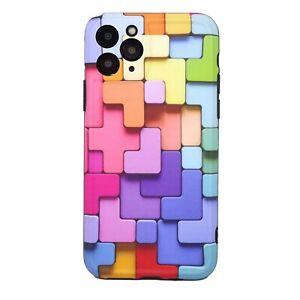 "Pellicola+Custodia cover per Apple iPhone 11 Pro 5.8"" COLORFUL blocchi colorati"