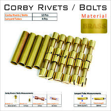 "Knife Mounting Rivets 12 Brass 5/16"" Corby Rivets & 4 Lanyard Tubes Knife Supply"