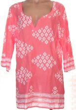 Old Navy XL X-large 3/4 sleeve Salmon print y-neck thin tunic blouse shirt top