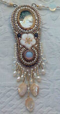 "Hand made Mother of pearl Necklace "" Cameo "" Flower beadwork pendant"
