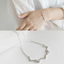 Damen Armband V Welle echt Sterling Silber 925 Zirkonia 15,5 + 3 cm Armkette
