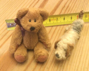 2 Miniature Animals A Teddy Bear &A Dog Collectible Figures Models Loveable Cute