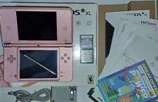 Nintendo DSi XL Metallic Rose Pink CIB (Charger, Manuals, Pencil) + 2 Games