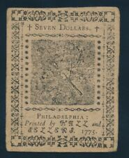 CONTINENTAL CURRENCY SEVEN DOLLARS NOTE, MAY 10, 1775 !!  127