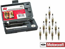 Motorcraft 10 Spark Plugs SP515 + Lisle 65600 Broken Spark Plug Remover for Ford