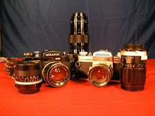 TWO Miranda Sensorex EE 35mm Film Cameras with 5 lenses, 3 view finders, filters