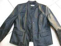 Ladies NEXT black real leather JACKET COAT size UK 14 small 16 cafe racer biker