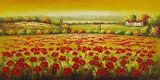 Dipinto Olio su Tela - 60x120 cm - paesaggio Fiorito - Quadro Fiori Papaveri