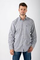 Hazy Blue Mens Country Check Long Sleeved Shirt Chester Poly/cotton Sizes S-XXXL
