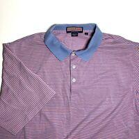 Vineyard Vines Mens Shirt Sz Large L Blue Red Striped Golf Polo Short Sleeve