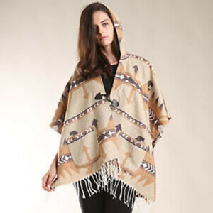 Parker Sparrow Beige Aztec Print Hoodie Poncho With Toggle Buttons