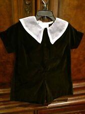Strasburg Heirloom Velvet Romper With Organza Collar Size 18-24m