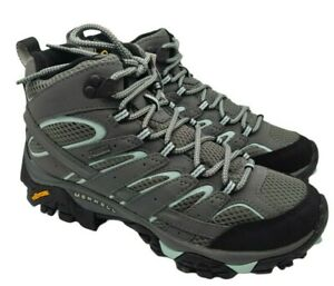 Merrell womens moab 2 mid gtx hiking trainers sage grey size 5 uk new rrp 130