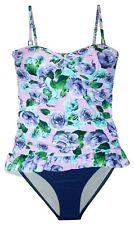 New Women's Marina West Long Tankini Bikini Large  L 10 Swimsuit Lilac Floral
