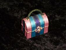 Rucinni Enamel Decorated Trinket Box W/ Swarovski Crystals Pink, Blue, & Purple