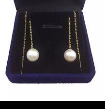 Natural Pearl Dangle Earring Pearl 18K Yellow Gold