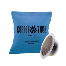100 CAPSULE COMPATIBILI BIALETTI, CAFFE' KOFFEE TIME GUSTO FORTE  MOKONA CUORE