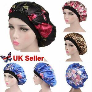 Women Satin Night Sleep Cap Fizzy Hair Care Bonnet Sleeping Hat Head Cover Wrap