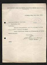 Big Sandy & Cumberland Railroad 1919 letter to ICC signed manager W. E. Weakley