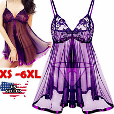 Sexy-Lingerie+Underwear Sleepwear-Lace-Women-G-string-Dress-Babydoll-Nightwear