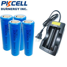 4pcs 18650 Vape Mod Rechargeable Battery and Charger Real 3Ah Capacity PKCELL