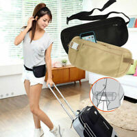 Travel Waist Money Belt Wallet Hidden Zipped Security Pouch Passport RFID Holder
