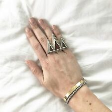 Pamela Love Sterling Silver & Agate 3 Pyramid Ring Size 6