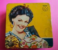 Mexican vintage Harinas Tres Estrellas cookies tin box Folk Señorita 1950s