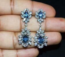 CERTIFIED NATURAL 8.4CTS VS F G DIAMOND SAPPHIRE 18K SOLID GOLD DANGLE EARRINGS