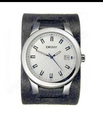 Dkny Men's NY5047 Black Leather Cuff White Dial Round  Watch