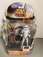 Star Wars Rebels Sabine Wren and Stormtrooper Figures - Disney Hasbro MS08 - NEW