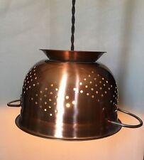 Copper Finish Colander Pendant Lamp Vintage Look  Country Farm Decor