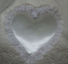 "Wedding White Ring Pillow Heart Soft 10"" Nwot"