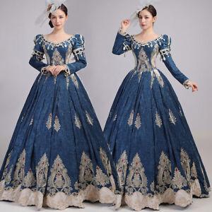 Women Victorian Dress Medieval Renaissance Retro Costume Stage Party Show Gown