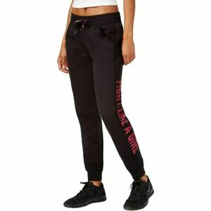 Ideology Womens BCRF French Terry Graphic Jogger Pants, Size M Black