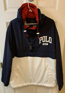 Polo Ralph Lauren Men 2XB B&T 1967 Jacket Windbreaker Hooded Anorak Blue White