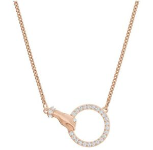 Swarovski Symbolic necklace Hand, White, Rose gold-tone plated