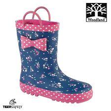 Woodland W409NP Blue & Pink Bow Toddler Wellington Boots Kids Wellies Rainboots