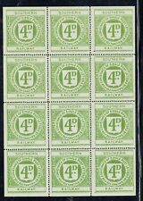 Southern Railway 1923/25 4d yellow-green railway letter stamp Sheet of 12 mint