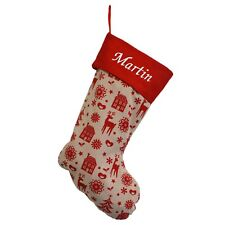 Personalised Deluxe Embroidered Nordic Xmas Stocking Sack Luxury Santa Christmas