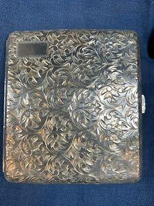 Vintage 950 Sterling Silver Cigarette Case Box No Monogram Engraved Emboss e765